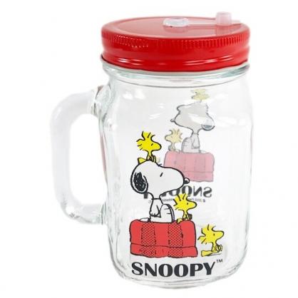 小禮堂 史努比 透明梅森杯 玻璃杯 吸管杯 飲料杯 單耳 附蓋 500ml (黃盒 狗屋)