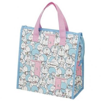 小禮堂 哆啦A夢 便當袋 保冷袋 野餐袋 購物袋 方形不織布 (藍粉 滿版)