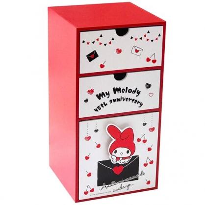 小禮堂 美樂蒂 木製櫃 直式 三抽 收納櫃 抽屜櫃 置物櫃 (紅白 櫻桃)