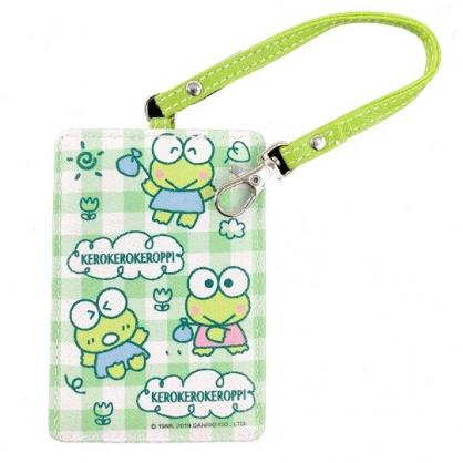 小禮堂 大眼蛙 票卡夾 皮質 腕繩 證件夾 車票夾 卡套 (綠 格紋)