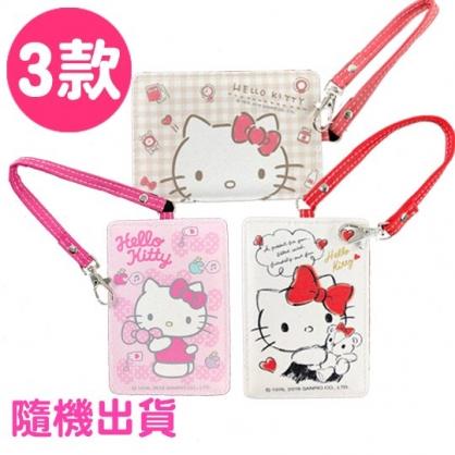 小禮堂 Hello Kitty 票卡夾 皮質 腕繩 證件夾 車票夾 卡套 (3款隨機)
