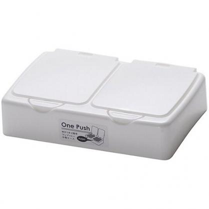 小禮堂 日本山田化學 日製 迷你 收納盒 按壓彈蓋 塑膠雙格 飾品盒 置物盒 (白)