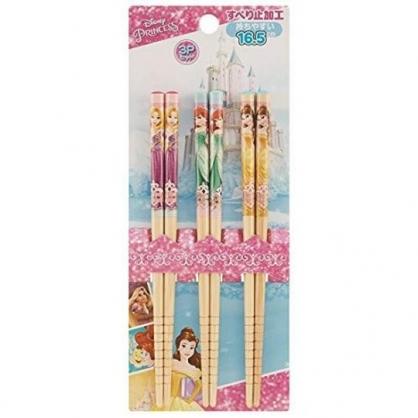小禮堂 迪士尼 公主 木筷 竹筷 筷子 兒童筷 環保筷 16.5cm (3入 粉藍 城堡)