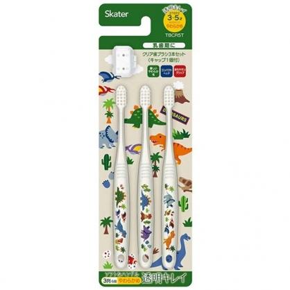 小禮堂 恐龍 兒童牙刷 附牙刷蓋 學童牙刷 3-5歲適用 (3入 透明 米綠)