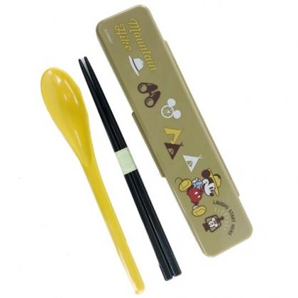 小禮堂 迪士尼 米奇 日製 塑膠餐具組 盒裝兩件式 筷匙組 環保餐具 兒童餐具  (墨綠 露營)