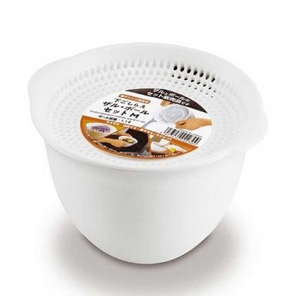小禮堂 日本精工 日製 迷你 瀝水籃 可微波 置物籃 蔬果籃 圓形 1100ml (白)