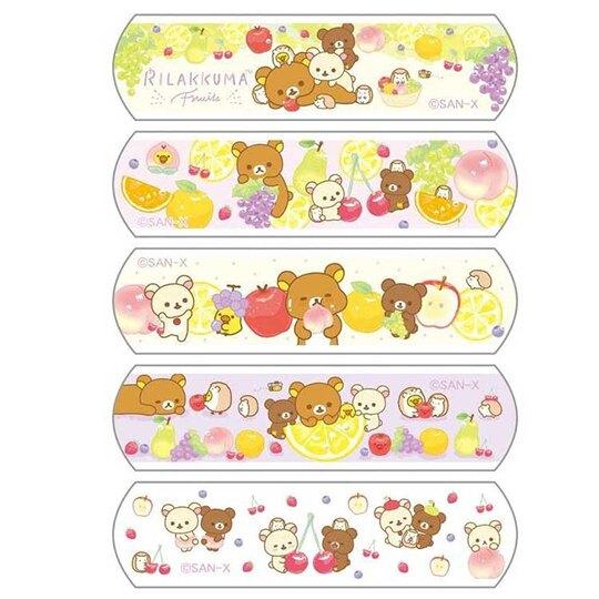 小禮堂 懶懶熊 拉拉熊 日製 OK繃 貼布 繃帶 附夾鏈袋 (10枚入 黃 水果)