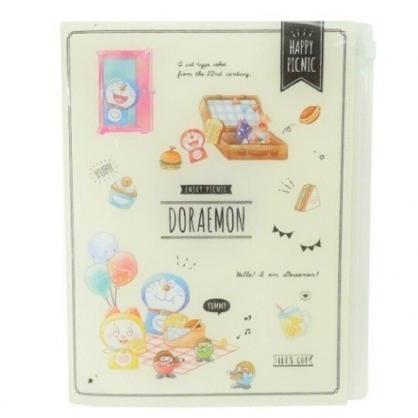 小禮堂 哆啦A夢 資料夾 A4 雙開式文件夾 檔案夾 L夾 附夾鏈袋 (米 野餐)