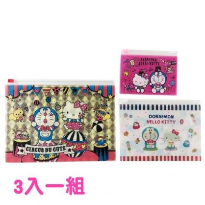小禮堂 Hello Kitty x 哆啦A夢 夾鏈袋 分類袋 密封袋 文具袋 方形透明 (3入 粉 變裝)