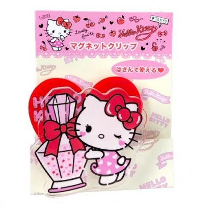 小禮堂 Hello Kitty 磁鐵夾 吸鐵夾 事務夾 造型夾 夾子 (紅 香水)