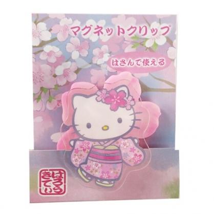 小禮堂 Hello Kitty 磁鐵夾 吸鐵夾 事務夾 造型夾 夾子 (粉 和服)