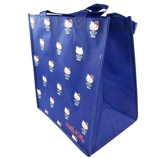 小禮堂 Hello Kitty 不織布購物袋 直式方形 手提袋 環保袋 肩背袋 (深藍 滿版)