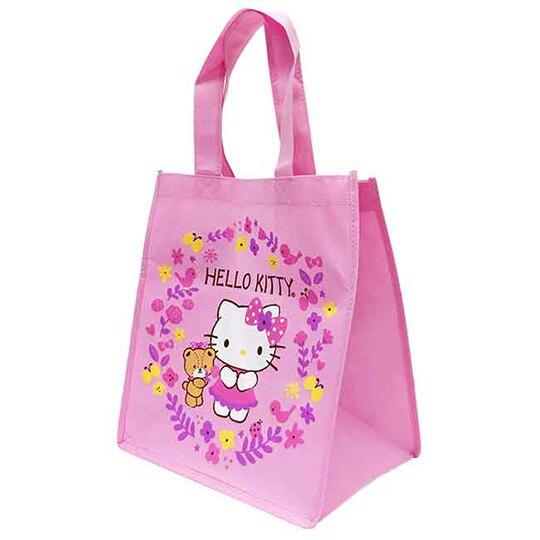 小禮堂 Hello Kitty 不織布購物袋 直式方形 手提袋 環保袋 肩背袋 (粉 花朵)