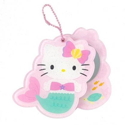小禮堂 Hello Kitty 隨身鏡 掛飾鏡 鏡子 吊飾 (綠粉 人魚裝)