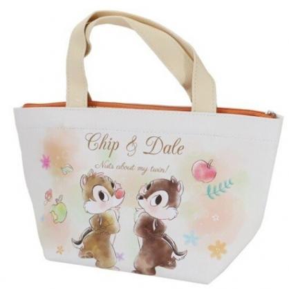 小禮堂 迪士尼 奇奇蒂蒂 便當袋 皮質 手提袋 保冷袋 野餐袋 可拆內裡 (米棕 蘋果)