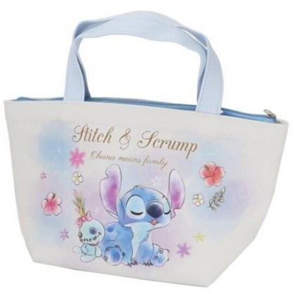 小禮堂 迪士尼 史迪奇 便當袋 皮質 手提袋 保冷袋 野餐袋 可拆內裡 (藍白 閉眼)