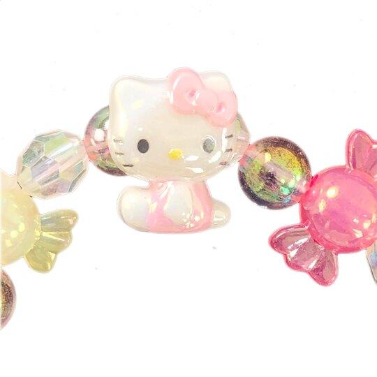 小禮堂 Hello Kitty 串珠手鍊 造型手鍊 兒童飾品 手環 首飾 (粉藍 糖果)