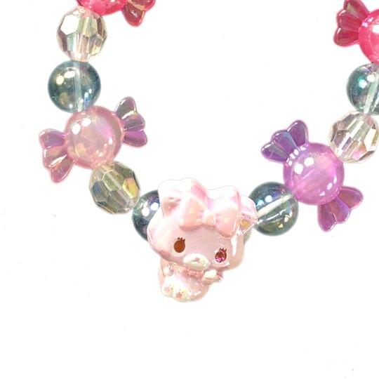 小禮堂 甜夢貓 串珠手鍊 造型手鍊 兒童飾品 手環 首飾 (紫紅 糖果)