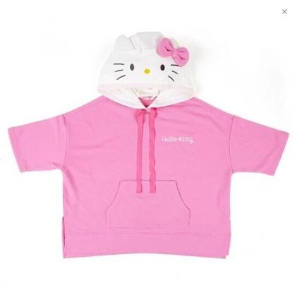 小禮堂 Hello Kitty  短袖帽T 連帽上衣 休閒服 T-shirt T恤 (粉 大臉)