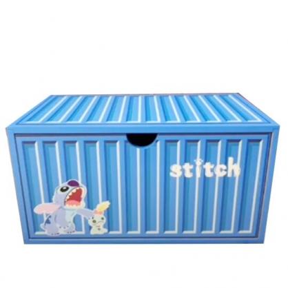 小禮堂 迪士尼 史迪奇 木製收納盒 橫式 單抽 抽屜盒 置物盒 貨櫃造型 (藍)