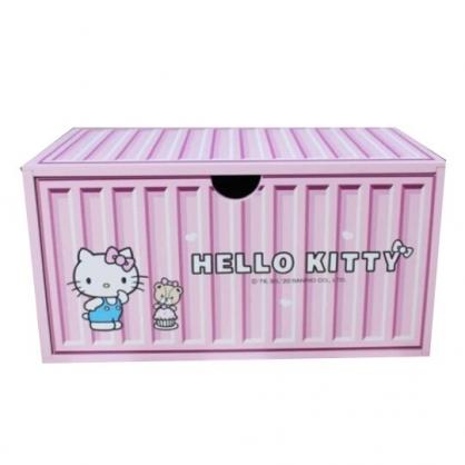 小禮堂 Hello Kitty 木製收納盒 橫式 單抽 抽屜盒 置物盒 貨櫃造型 (粉)