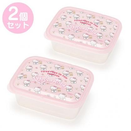小禮堂 Hello Kitty 保鮮盒 方形 塑膠保鮮盒 透明保鮮盒 餐盒 670ml (2入 粉 2020新生活)