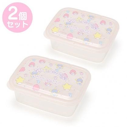 小禮堂 雙子星 保鮮盒 方形 塑膠保鮮盒 透明保鮮盒 餐盒 670ml (2入 粉 2020新生活)