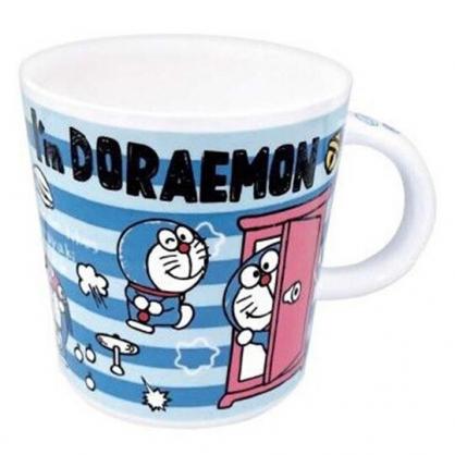 小禮堂 哆啦A夢 馬克杯 陶瓷杯 咖啡杯 茶杯 250ml (藍粉 橫紋)