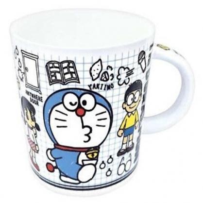 小禮堂 哆啦A夢 馬克杯 陶瓷杯 咖啡杯 茶杯 250ml (藍白 格線)