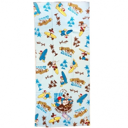 小禮堂 迪士尼 米奇 唐老鴨 浴巾 毛巾 純棉 割絨 70x140cm (藍白 衝浪板)