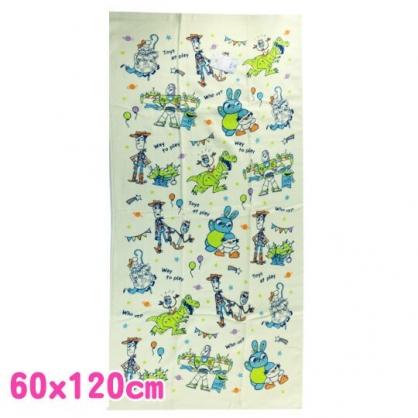 小禮堂 迪士尼 玩具總動員 浴巾 毛巾 純棉 紗布 60x120cm (綠 Q版)