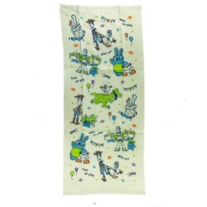 小禮堂 迪士尼 玩具總動員 長毛巾 長巾 純棉 紗布 34x80cm (2入 綠 Q版)