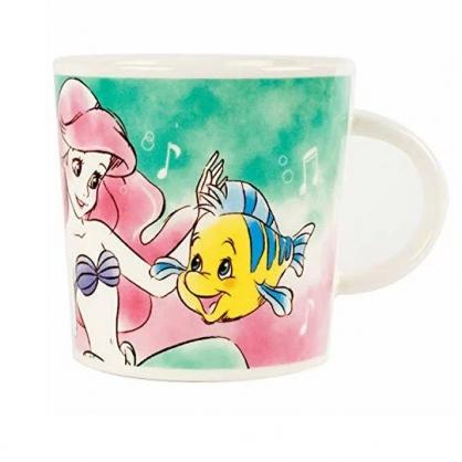 小禮堂 迪士尼 小美人魚 馬克杯 陶瓷杯 咖啡杯 茶杯 250ml (綠粉 對看)