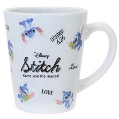 小禮堂 迪士尼 史迪奇 馬克杯 陶瓷杯 咖啡杯 茶杯 (藍白 滿版)