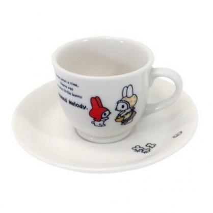 小禮堂 美樂蒂 日製 陶瓷 杯盤組 咖啡杯盤 茶杯 點心盤 金正陶器 (白 紅帽)