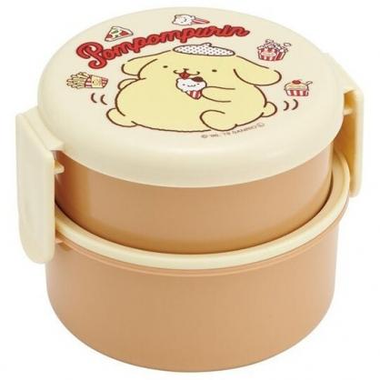 小禮堂 布丁狗 日製 便當盒 圓形塑膠 雙層雙扣 保鮮盒 餐盒 附叉子 (黃 食物)