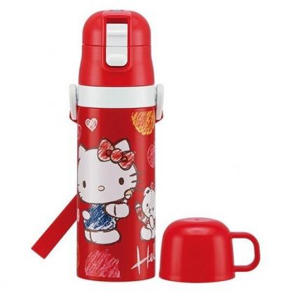 小禮堂 Hello Kitty 保溫瓶 彈蓋 兩用 超輕量不鏽鋼 水壺 隨手瓶 附背帶 470ml (紅 塗鴉)