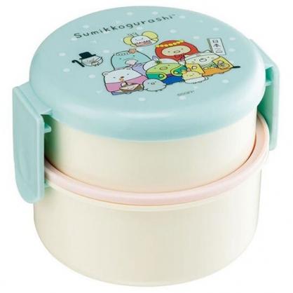 小禮堂 角落生物 日製 便當盒 圓形塑膠 雙層雙扣 保鮮盒 餐盒 附叉子 (綠粉 變裝)