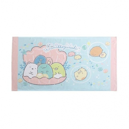 小禮堂 角落生物 浴巾 毛巾 純棉 割絨 65x125cm (淡藍 貝殼)