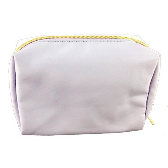 小禮堂 史努比 化妝包 皮質 方形 收納包 萬用包 (粉紫 花朵)