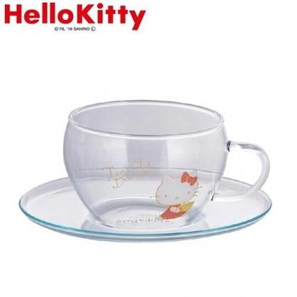 小禮堂 Hello Kitty 日製 玻璃 杯盤組 咖啡杯盤 茶杯 點心盤 YAMAKA陶瓷 (透明 側坐)