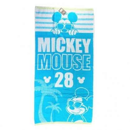小禮堂 迪士尼 米奇 浴巾 毛巾 純棉 無捻紗 60x120cm  (綠白 墨鏡)