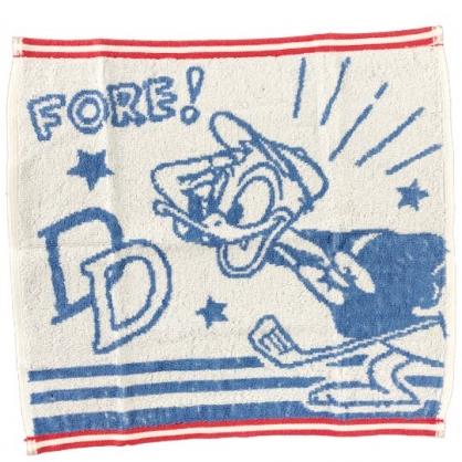 小禮堂 迪士尼 唐老鴨 短毛巾 方形毛巾 純棉 無捻紗 34x35cm (2入 藍白 文字)