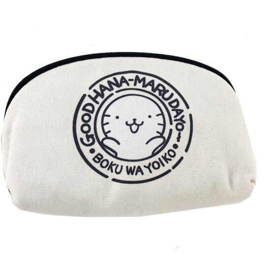 小禮堂 酷企鵝 化妝包 半圓形 帆布 收納包 萬用包 硬式支架 (米黑 頑皮海豹)