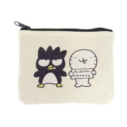 小禮堂 酷企鵝 面紙包 零錢包 帆布 方形 收納包 化妝包 小物包 (米黑 頑皮海豹)