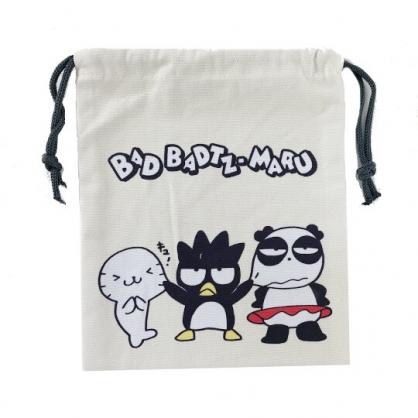 小禮堂 酷企鵝 束口袋 收納袋 縮口袋 帆布袋 18x20cm  (米黑 頑皮海豹)