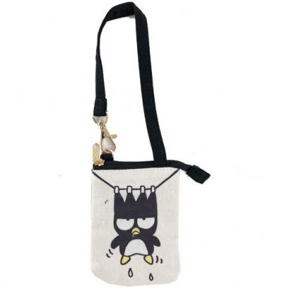 小禮堂 酷企鵝 零錢包 帆布 腕繩 票卡包 收納包 耳機包 (米黑 頑皮海豹)
