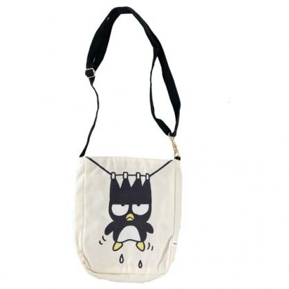 小禮堂 酷企鵝 斜背包 帆布包 外出包 隨身包 肩背包 直式方形 (米黑 頑皮海豹)