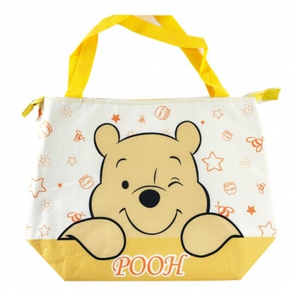 小禮堂 迪士尼 小熊維尼 側背袋 尼龍 橫式 保冷袋 肩背袋 野餐袋 行李拉桿包 (黃 大臉)