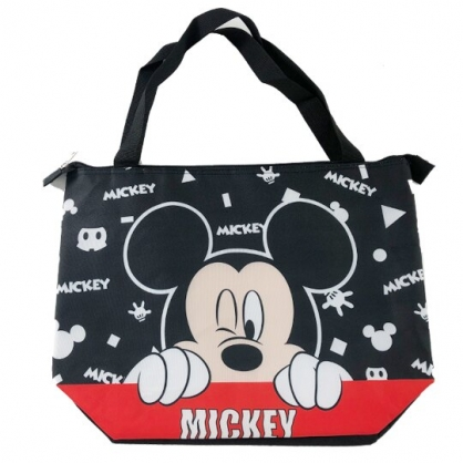小禮堂 迪士尼 米奇 側背袋 尼龍 橫式 保冷袋 肩背袋 野餐袋 行李拉桿包 (黑 大臉)